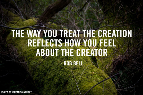 The way you treat the creation reflects how you feel about the creator.