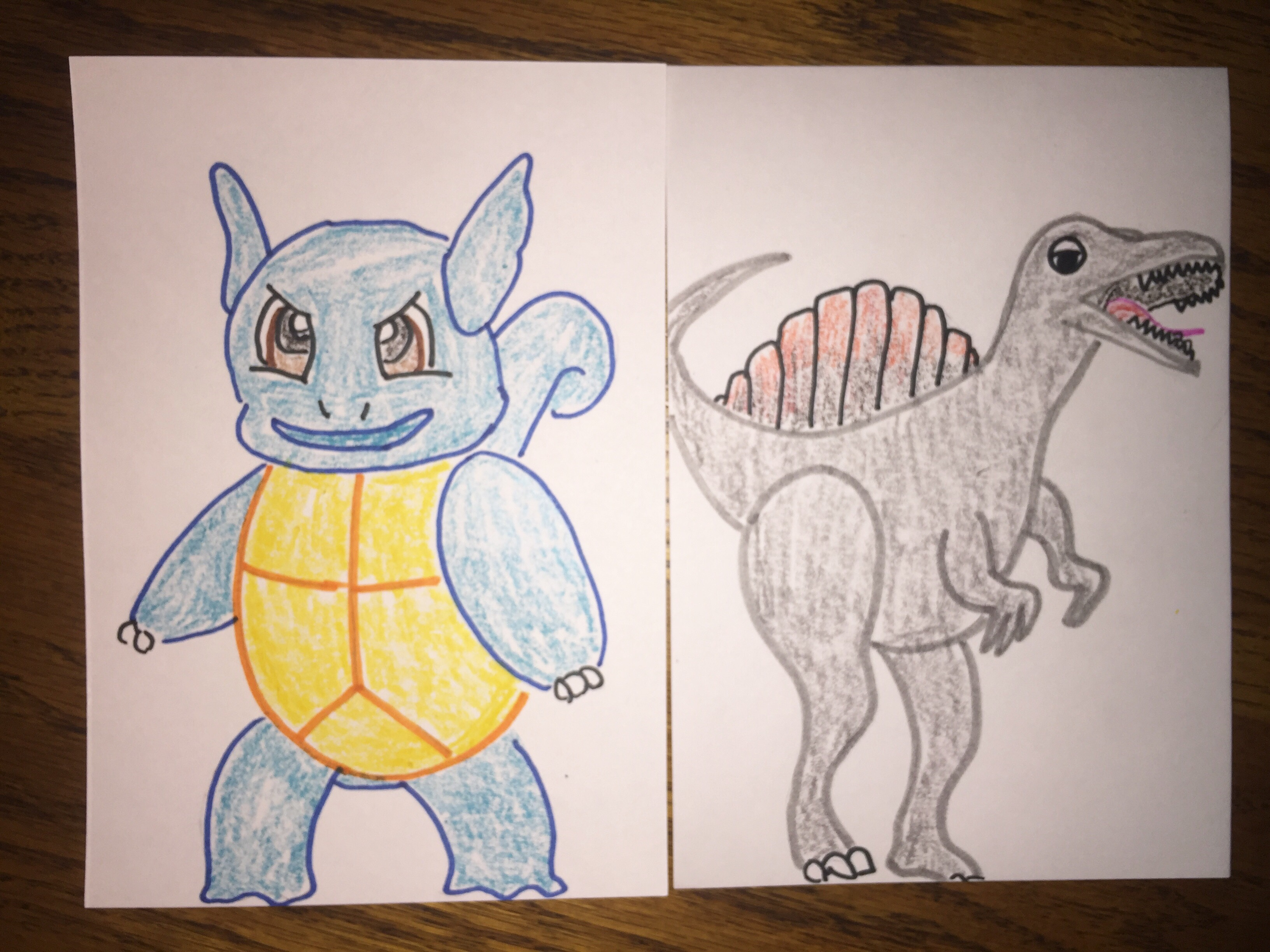 a drawing of a Wartortle and Spinosaurus