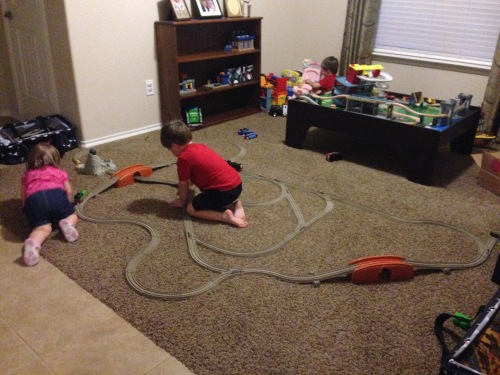 one of Hayden's many train tracks we built